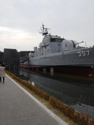 The Cheonan battlesheip at Pyeongtaek Naval Base. The ship sunk March 26, 2010 killing 46 South Korean seamen.