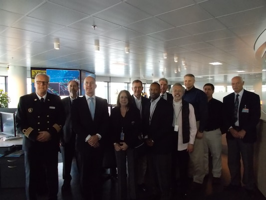 Visit to the Port of Rotterdam traffic management center – (left to right) Port Captain, Port of Rotterdam, Will Logan (Deputy Director, ICIWaRM), Ronald Paul (COO, Port of Rotterdam), Ms Jo-Ellen Darcy (ASA-CW), John Lonnquest (Chief, USACE O/History), James Dalton (Chief, USACE Engineering and Construction), Hans Pietersen (RWS contact to USACE), Bob Pietrowsky (Director, IWR), Joe Manous (IWR), Mark Sudol (Director, USACE Navigation and Civil Works Decision Support Ctr), Ruud Staverman (RWS).
