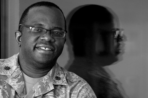 Maj. Francis Obuseh poses for a photo Nov. 13, 2014, at Ramstein Air Base, Germany, weeks after returning from Monrovia, Liberia. Obuseh was sent to Liberia to conduct a site survey for a field hospital to be used in the fight against the epidemic Ebola outbreak there. Obuseh is an epidemiologist and international health specialist with the U.S. Air Forces in Europe and Air Forces Africa Surgeon General's Office. (U.S. Air Force photo/Tech. Sgt. Benjamin Wilson)