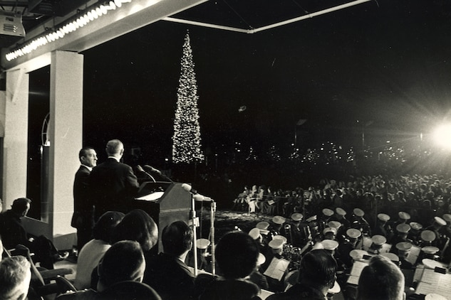 President Lyndon B. Johnson at National Tree Lighting, Washington, DC, Dec. 15, 1966. White House courtesy photo.