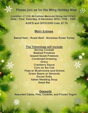 166th Airlift Wing Holiday Meal - Saturday, December 6, 2014