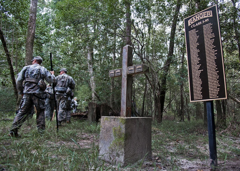 Soldiers from the 6th Ranger Training Battalion leave the memorial for the four fallen Rangers who lost their lives Feb. 16, 1995 and move to higher ground in the forest of Eglin Air Force Base's range Sept. 25. More than 40 Soldiers participated in the excursion to the memorial that followed in the footsteps of the tragic squad to learn from their experience and understand what took place that night almost 20 years ago.