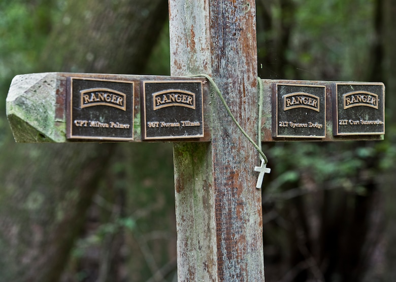 A memorial stands in the forests of the Eglin Air Force Base range in memory of the four fallen Rangers who lost their lives Feb. 16, 1995. More than 40 Soldiers participated in an excursion to the memorial that followed in the footsteps of the tragic squad Sept. 25 to learn from their experience and understand what took place that night almost 20 years ago.