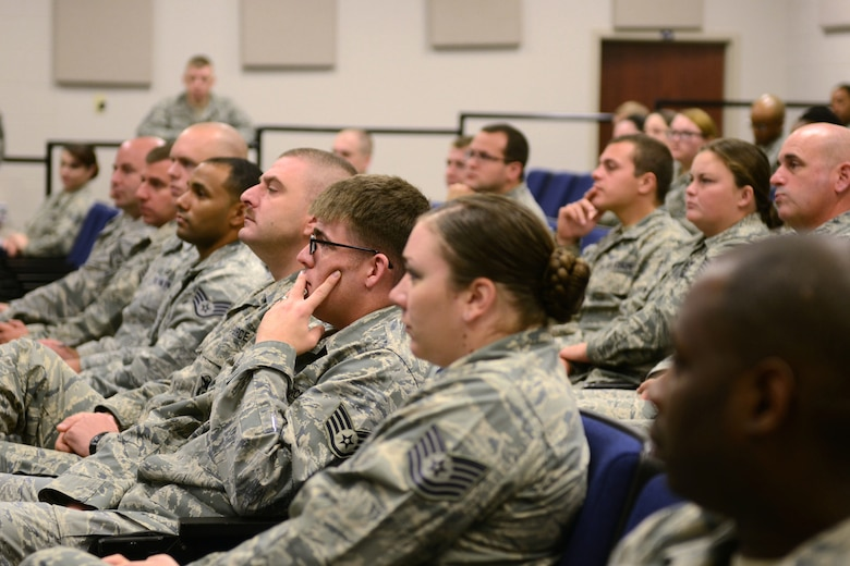 McEntire Joint National Guard Base kicked off its first Non-Commissioned Officer Professional Enhancement Seminar (NCOPES) to reemphasize supervisory roles of junior NCOs assigned to the South Carolina Air National Guard's 169th Fighter Wing and the 20th Fighter Wing from Shaw Air Force Base, S.C., Oct. 28, 2014. (U.S. Air National Guard photo by Senior Master Sgt. Edward Snyder/Released)