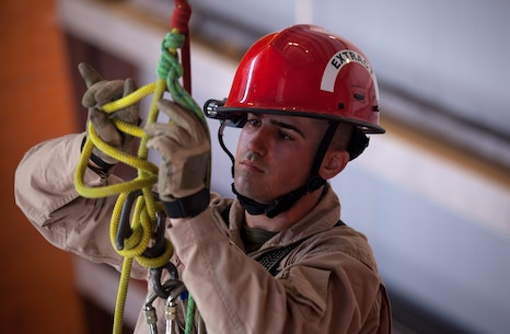 The Marines and Sailors of the Chemical Biological Incident Response Force (CBIRF), II Marine Expeditionary Force conduct training alongside the Fire Department of New York at their Fire Academy at Randall's Island, NY. The week-long training evolution includes rope training and high-angle rescue, vehicle extrication, response to structural collapse, and low-light search and rescue. These are all techniques used by CBIRF personnel when responding to chemical, biological, radiological, nuclear or high-yield explosive incidents (CBRNE). CBIRF is prepared to respond with minimal warning to crisis in order to assist local, state, or federal agencies and the geographic combatant commanders in the conduct of CBRNE response or consequence management operations. The Marines and Sailors that comprise CBIRF come from more than 40 military occupational specialties and train year round in a variety of venues with multiple agencies to carry out the unit's unique mission.