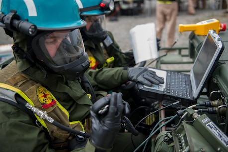 Marines and Sailors of the Chemical Biological Incident Response Force, II Marine Expeditionary Force participate in Exercise Scarlet Response at Guardian Centers in Perry, Ga., July 22. CBIRF personnel are trained to exercise command and control, agent detection and identification, search, rescue and decontamination, and emergency care for contaminated personnel. During Scarlet Response, the Marines and Sailors are testing their ability to detect radiation, locate casualties, conduct vehicle extrication, and perform decontamination of simulated casualties that have resulted from a mock nuclear explosion in a major U.S. city. Exercise Scarlet Response is being executed as part of Exercise Vibrant Response 14, a combined Command Post Exercise / Field Training Exercise directed by Commander, U.S. Northern Command. (U.S. Marine Corps photo by Cpl. Ian M. Bush/Released)