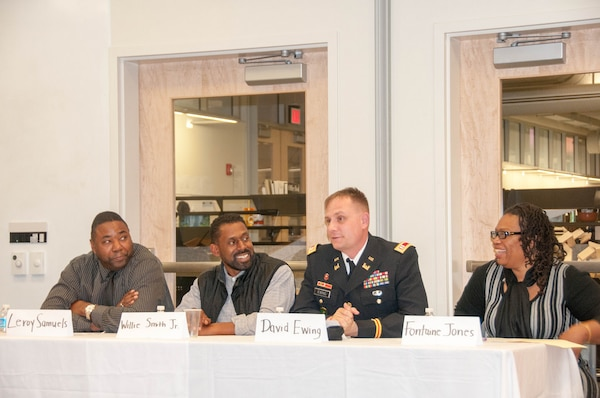 Civil engineers from the U.S. Army Corps of Engineers, Baltimore District, held a panel discussion at the Morgan State University's Civil Engineering Honor Society meeting on Nov. 5, 2014. The panel contributed information regarding their education, career paths, and work with the Baltimore Corps.  The night also included a Q&A session which provided students advice regarding work/life balance and career advancement opportunities in the field of civil engineering. Pictured from left to right: Leroy Samuels, Willie Smith, Jr., Cap. David Ewing, and Fontaine Jones.