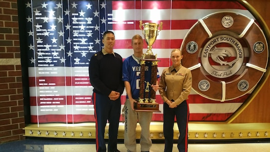 (From left to right) Staff Sgt. Loc Le, a recruiter with Marine Corps Recruiting Station New York, 