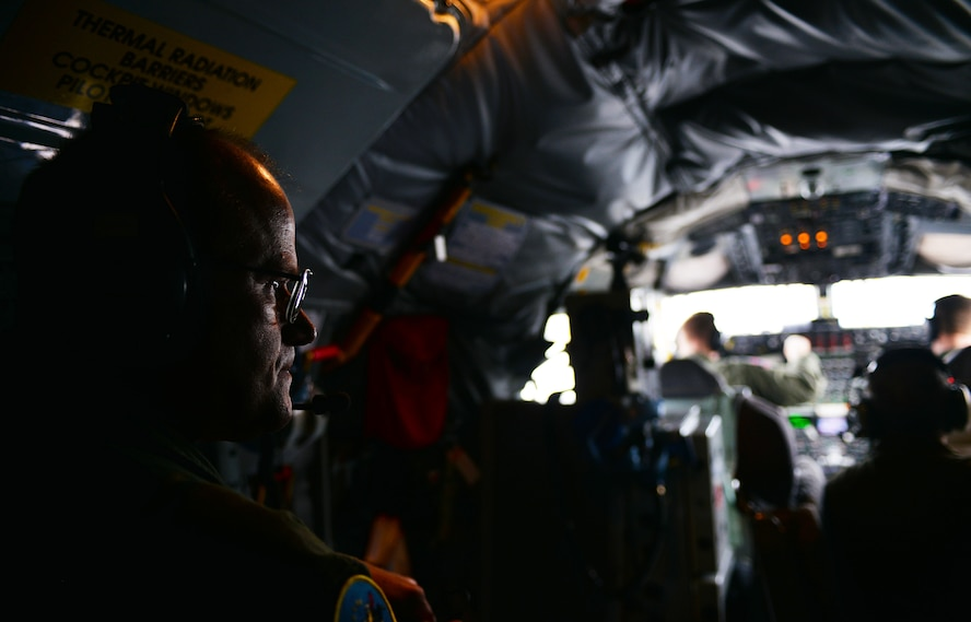 Chief Master Sgt. Tom Guard, a boom operator in the 121st Air Refueling Wing takes his final flight before retirement Nov. 26, 2014, at Rickenbacker Air National Guard Base, Ohio. Guard served 41 years in the military and is set to retire on Dec. 19, 2014.  (U.S. Air National Guard photo by Master Sgt. Ralph Branson/Released)