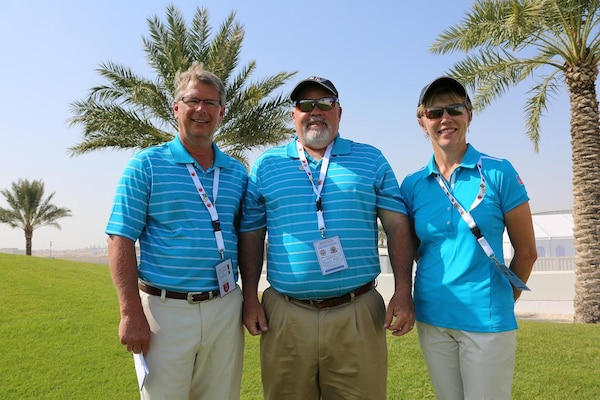 The US Armed Forces Golf team leadership from left to right: Coach - Mr. Doug Quirie (USAF); Team Captain - Mr. James Senn (Navy Sports Director); and Chief of Mission - CAPT Lisa Potvin (Navy).  The US Men and Women Armed Forces Golf teams won respective gold medals for the seventh time during the 8th CISM World Military Golf Championship held in Bahrain 13-21 November 2014.
