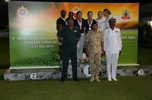 The US Armed Forces Women's Team win their seventh CISM World Military Golf Championship gold medal.  Air Force Maj Linda Jeffery and Navy Lieut. Nicole Johnson dominated the field on their way to gold. Jeffery and Johnson were also teammates during the 2012 CISM Championship where they earned gold as a tandem.  The 8th CISM World Military Golf Championship held in Bahrain 13-21 November 2014.