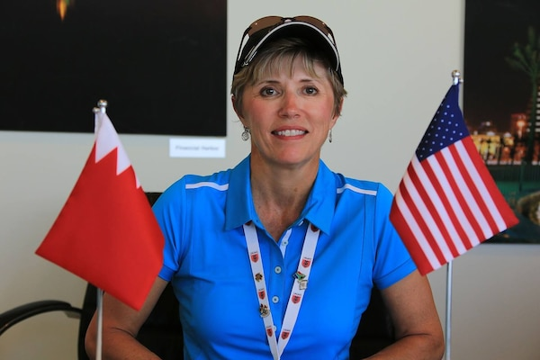 US Chief of Mission Navy CAPT Lisa Potvin at the 8th CISM World Military Golf Championship held in Bahrain 13-21 November 2014.