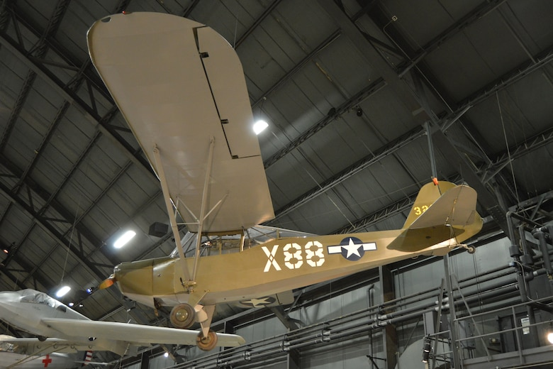 "DAYTON, Ohio -- Taylorcraft L-2M ""Grasshopper"" in the World War II Gallery at the National Museum of the United States Air Force. (U.S. Air Force photo)"