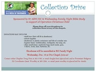 Donations may include: - small toys (that will fit in shoeboxes) - school supplies - shoeboxes or plastic containers and lids of a similar size - hygiene items: toothbrushes, toothpaste, bar soap, etc. - other small items: sandwich bags, hard candy, gum, t-shirts, socks, hats, batteries, etc.  Packing Party Dec. 10, 2014, at 6:30 p.m. Dix Chapel