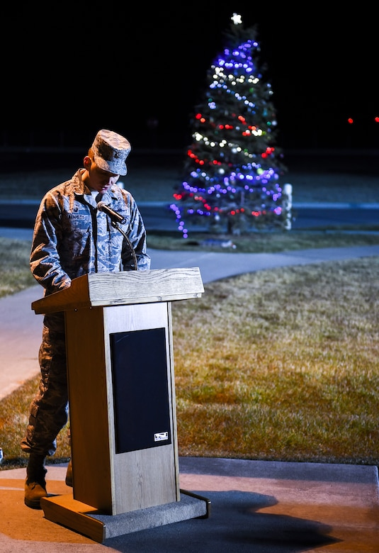 Maj. Christopher Kennedy, 460th Space Communications Squadron commander, speaks to the crowd during a tree-lighting ceremony Dec. 2, 2014, on Buckley Air Force Base, Colo. The ceremony honored Senior Airman Kristopher Mansfield and Senior Airman Michael Snyder, both members of the 460th Space Communications Squadron who were killed by drunk drivers. (U.S. Air Force photo by Senior Airman Riley Johnson/Released)