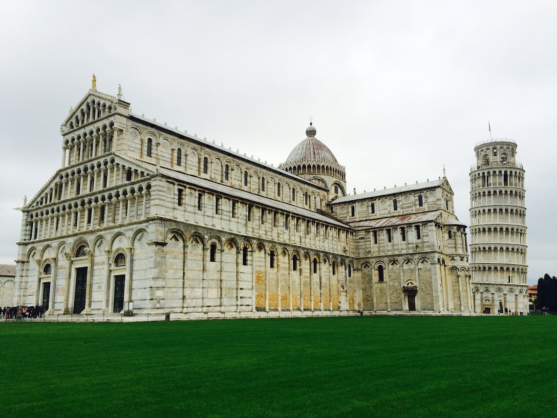 The Cathedral Square in Pisa, Italy, features the famous Leaning Tower, Cathedral and Baptistery. Constructed in 1372, the tower didn't stop leaning until May 2008. (U.S. Air Force photo/Staff Sgt. R.J. Biermann)