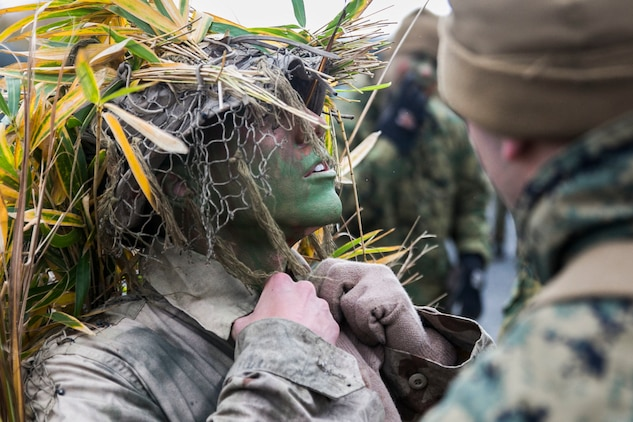U.S. Marine Lance Cpl. Jonas G. Dewald works with a fellow Marine to don his ghillie suit Dec. 2 in the Oyanohara Training Area in Yamato, Kumamoto prefecture, Japan. The concealment training is part of Forest Light 15-1, a semi-annual, bilateral exercise consisting of a command post exercise and field training events conducted by elements of III Marine Expeditionary Force and the Japan Ground Self-Defense Force to enhance the U.S. and Japan military partnership, solidify regional security agreements and improve individual and unit-level skills. Dewald, from Wilson, North Carolina, is a machine gunner with Weapons Company, 2nd Battalion, 9th Marine Regiment, currently attached to 4th Marine Regiment, 3rd Marine Division, III MEF, under the unit deployment program.