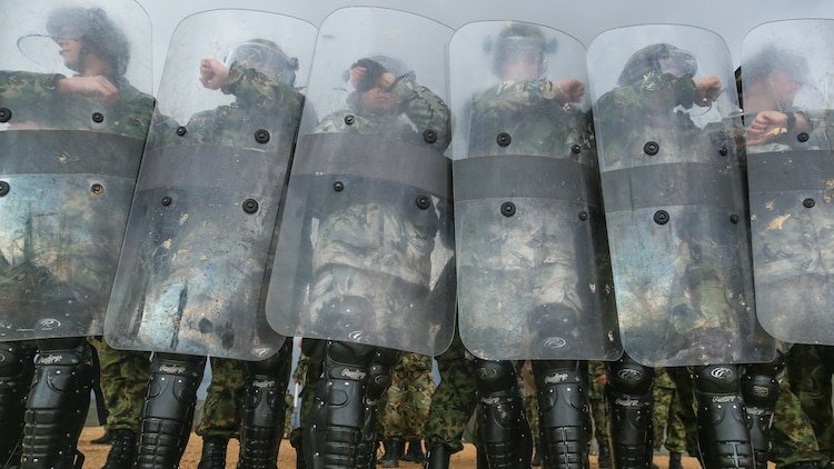 Bulgarian and Serbian soldiers don riot-control gear and prepare to face-off with an unruly crowd of Marines during a Platinum Wolf 15 training scenario at South Base, Serbia Nov. 19. Platinum Wolf is a peacekeeping operations training exercise focused on non-lethal systems and basic infantry skills. Units train together as coalitions, developing and improving proficiency of peacekeeping procedures like crowd and riot control. Forces from Bulgaria, Croatia, Macedonia, Romania, Serbia and the U.S. will be participating in the two week training.