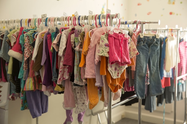 Girls clothing hangs on a rack at Rambling' Rose Thrift Shop aboard Marine Corps Air Station New River, Nov. 20. The thrift shop has clothing available for children of all ages for very low prices.