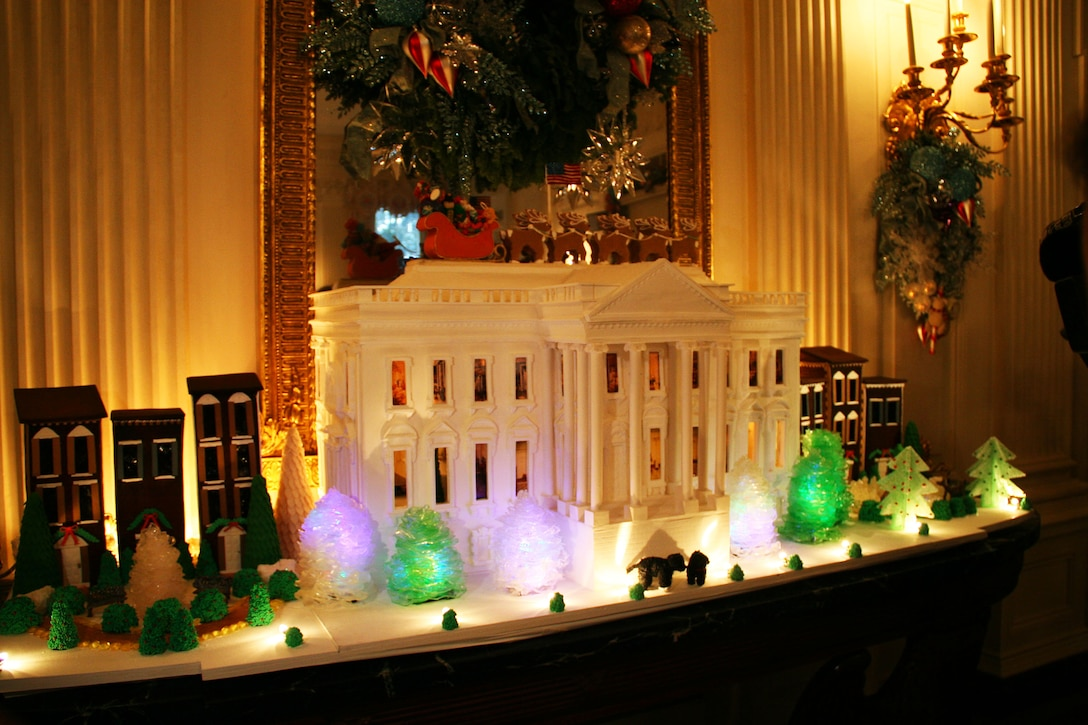 The White House gingerbread house displayed in the State Dining Room is made 250 pounds of pastillage, 40 pounds of marzipan, 25 pounds of gum paste, 80 pounds of gingerbread dough and 25 pounds of sugar. DoD photo by Terri Moon Cronk