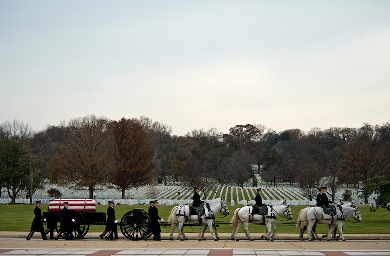 Members of the U.S. Army 1st Battallion 3rd Infantry, Caisson Platoon, carry the remains of U.S. Army Air Forces Sgt. Charles A. Gardner Dec. 4, 2014, in Arlington National Cemetery. Gardner, along with 11 of his fellow crew members, went missing on April 10, 1944, after his B-24D Liberator aircraft was shot down over New Guinea. (U.S. Air Force photo /Master Sgt. Jeffrey Allen)