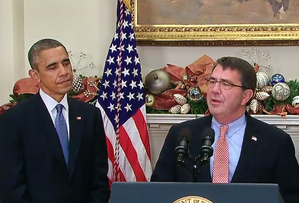 Ashton B. Carter offers remarks after President Barack Obama nominated him to serve as the next defense secretary during an event at the White House, Dec. 5, 2014. Obama's announcement followed the resignation of Chuck Hagel, who will remain in office until the U.S. Senate confirms a successor. Carter served as deputy defense secretary from October 2011 to December 2013, and served as undersecretary of defense for acquisition, technology and logistics before that. Video screen shot