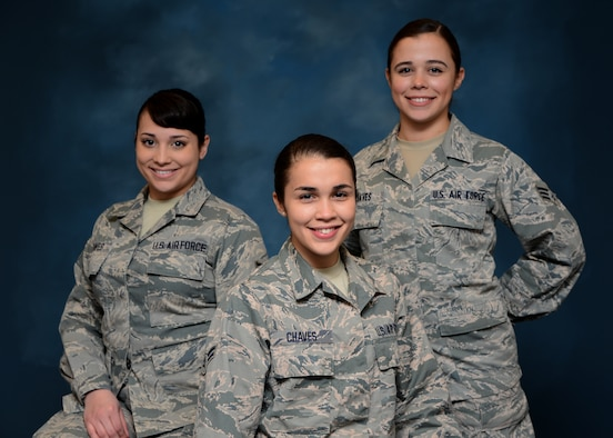 Airman 1st Class Andrea Chaves, center, is the Maryland Air National Guard December Spotlight Airman. Both her sisters are also members of the 175th Wing. She is joined by Senior Airmen, Orlany Chaves, left, and Nicole Chaves, right.  (U.S. Air National Guard Photo by Tech. Sgt. Christopher Schepers/RELEASED)