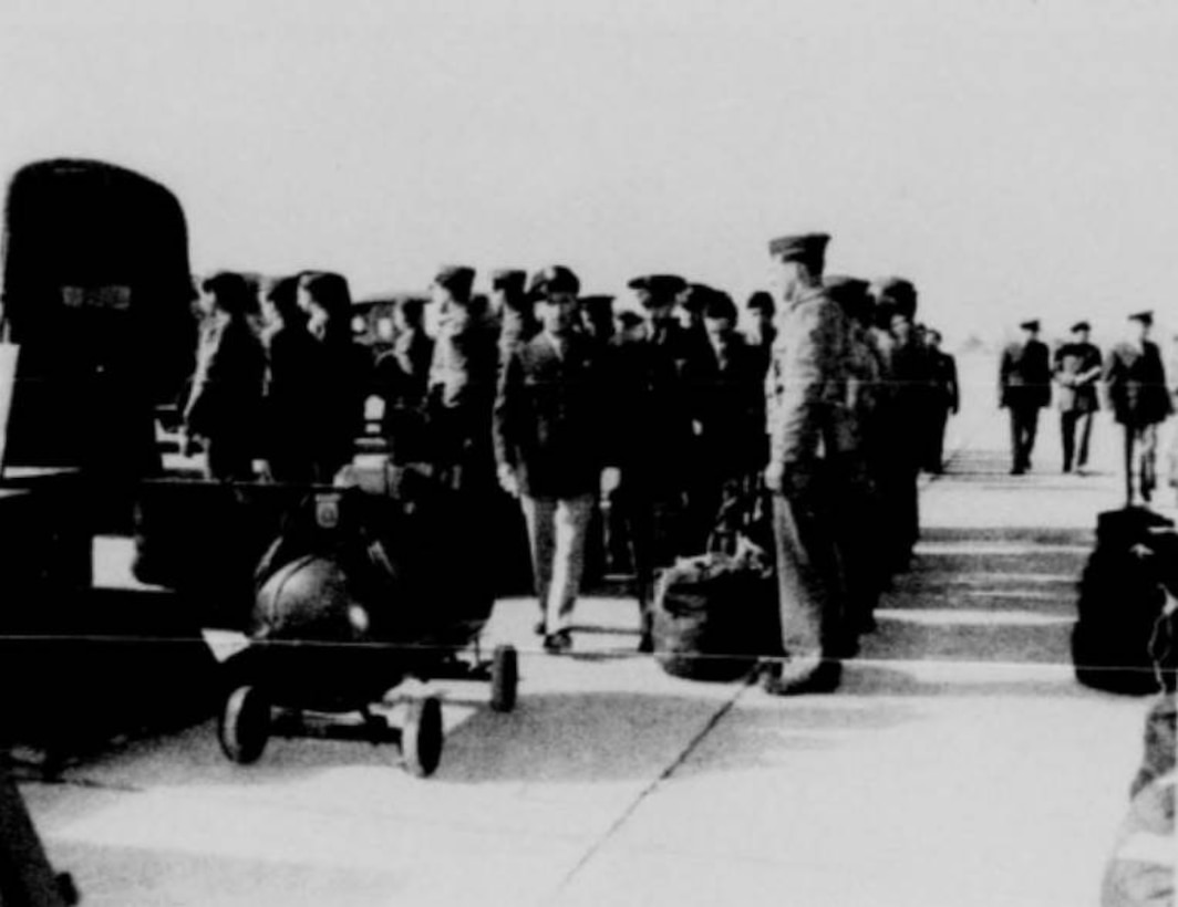 Members of the 55th Pursuit Group at Portland AAB undergo a 1941 pre-war inspection in this view.  (142FW History Archives)