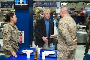 U.S. Defense Secretary Chuck Hagel visits U.S. service members at the International Security Assistance Force dining facility in Kabul, Afghanistan, Dec. 6, 2014. DoD photo by U.S. Air Force Master Sgt. Adrian Cadiz