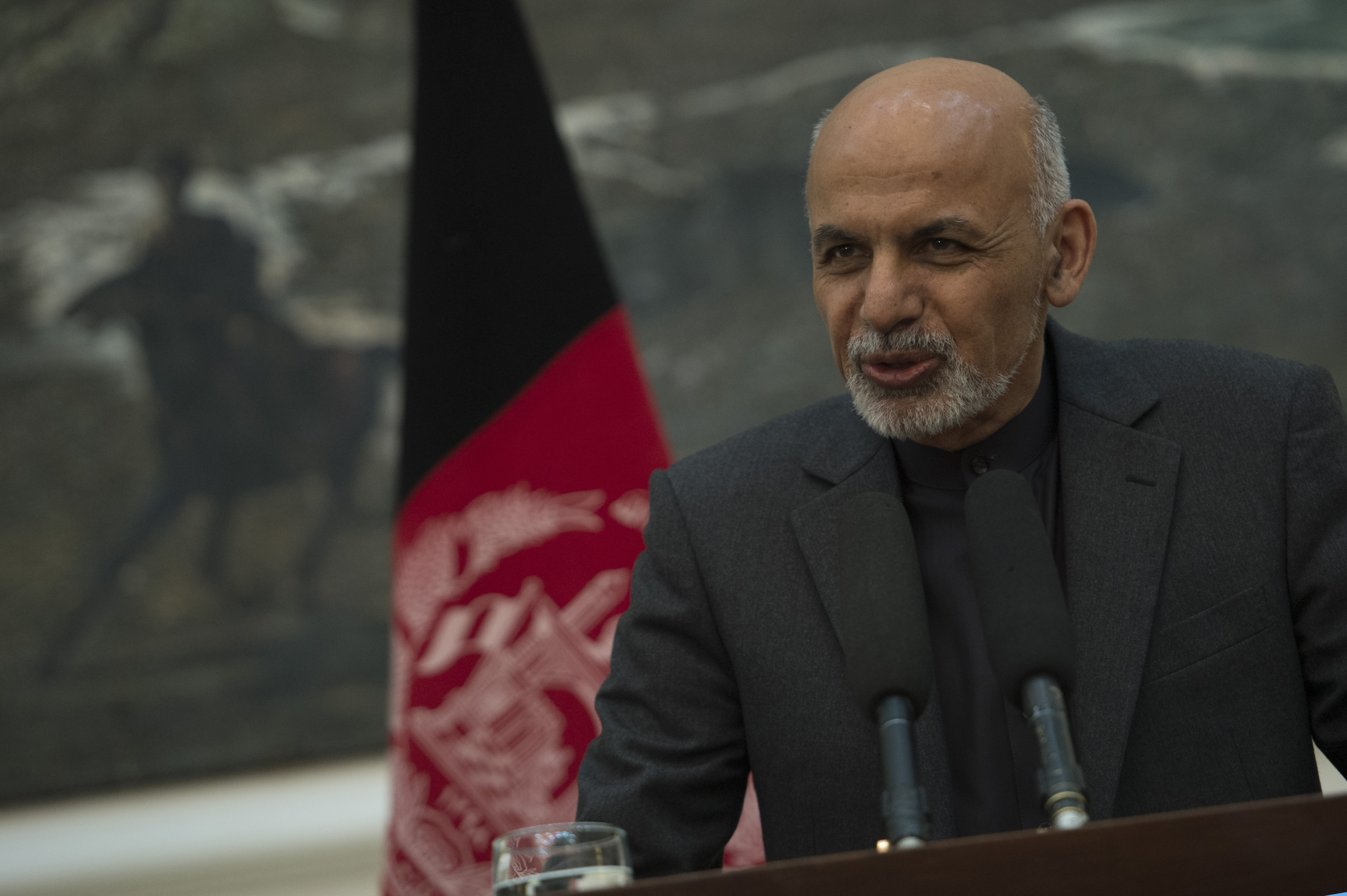 Afghan President Ashraf Ghani speaks during a press