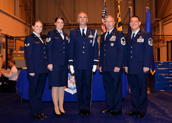 The winners of the 2015 Airmen of the Year contest for the 175th Wing Maryland Air National Guard pose for a group picture following the ceremony at Warfield Air National Guard Base, Baltimore, MD, December 7, 2014. The winners are (from L – R) Senior Airman Jennifer Masters, 175th Operations Support Squadron, Tech. Sgt. Juliann Johnston, 175th Logistics Readiness Squadron, Master Sgt. Michael Glaze, 175th Civil Engineering Squadron, Senior Master Sgt. Steven Mooney, 175th Logistics Readiness Squadron and Master Sgt. Robert Ignozzi, 175th Maintenance Squadron. (U.S. Air National Guard Photo by Tech. Sgt. Christopher Schepers/RELEASED)