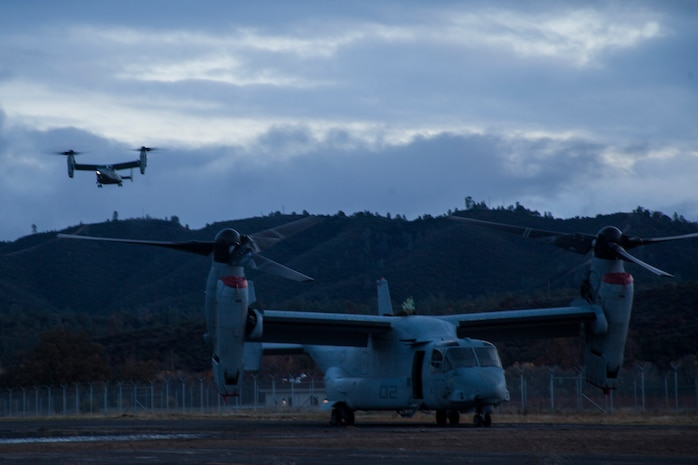 MV-22B Ospreys with Marine Medium Tilt-Rotor Squadron 161 (Reinforced) lands during Realistic Urban Training aboard Fort Hunter Liggett, Calif., Dec. 4, 2014. RUT prepares the 15th MEU Marines for their upcoming deployment, enhancing their combat skills in environments similar to those they may find in future missions. (U.S. Marine Corps photo by Cpl. Elize McKelvey/Released)