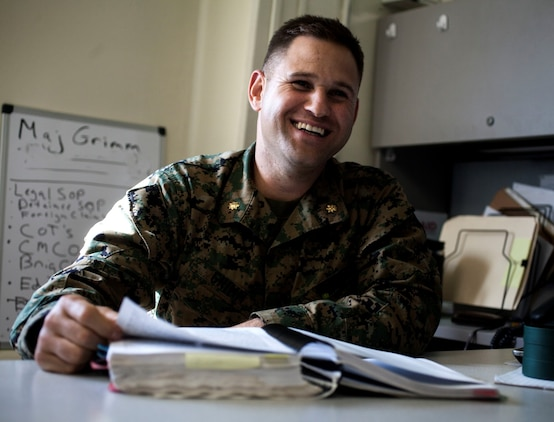 U.S. Marine Maj. Joseph Grimm shares his experiences with leadership aboard Camp Pendleton, Calif., Oct. 25, 2014. Grimm is from Smithfield, and is the staff judge advocate for the 15th Marine Expeditionary Unit. (U.S. Marine Corps photo by Cpl. Elize McKelvey/Released)