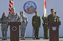 CAMP ASAKA, Japan (Dec. 8, 2014) - Lt. Gen. Stephen R. Lanza, I Corps commanding general, speaks during the opening ceremony for Yama Sakura 67 on Camp Asaka.  Yama Sakura is an annual bi-lateral command post exercise between Japan and the U.S.