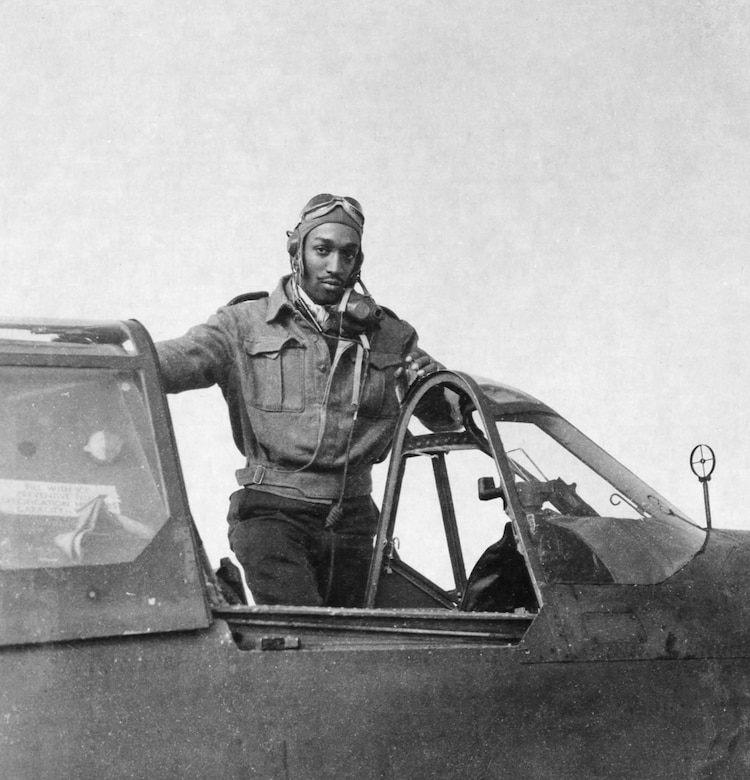"1st Lt. Robert W. Deiz was one of the 99th Fighter Squadron pilots who shot down 10 Fw 190s on Jan. 27, 1944. He shot down another one the next day. Interestingly, Deiz was the Tuskegee Airman depicted in the famous ""Keep Us Flying"" War Bonds poster. (U.S. Air Force photo)"