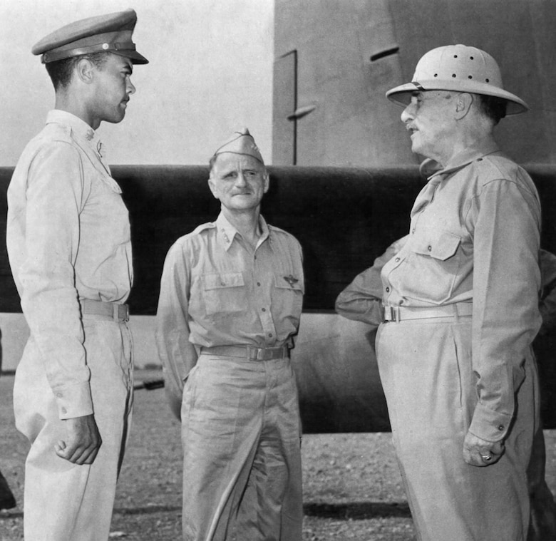 Throughout the war, the Tuskegee Airmen remained under the watchful eye of superiors in the War Department and the U.S. Army. Here, 99th commander Lt. Col. Benjamin Davis (left) meets with Secretary of War Henry Stimson (right) in Tunis as Lt. Gen. Carl Spaatz, commander of the Mediterranean Allied Air Forces watches. (U.S. Air Force photo)