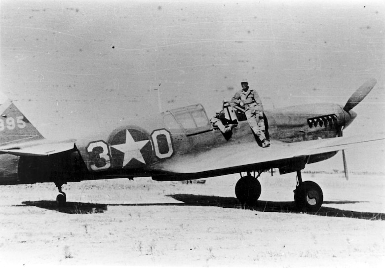 99th Fighter Squadron P-40 flown by 1st Lt. (later Maj.) Charles Hall. (U.S. Air Force photo)