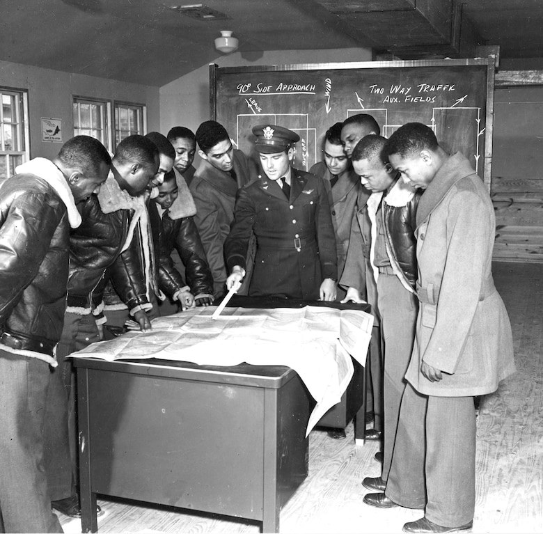 At first, white instructors conducted basic and advanced flying school at Tuskegee AAF. Later, black combat pilots returned as flight instructors. (U.S. Air Force photo)