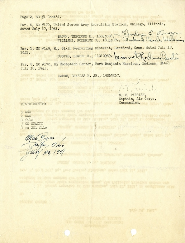 [Side 2] Orders assigning the first aviation cadets to Tuskegee. (U.S. Air Force photo)