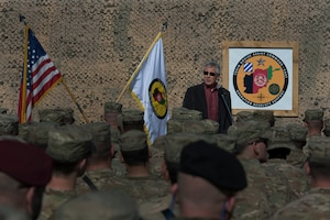 Defense Secretary Chuck Hagel addresses service members on Forward Operating Base Gamberi, Afghanistan, Dec. 7, 2014. DoD photo by Air Force Master Sgt. Adrian Cadiz