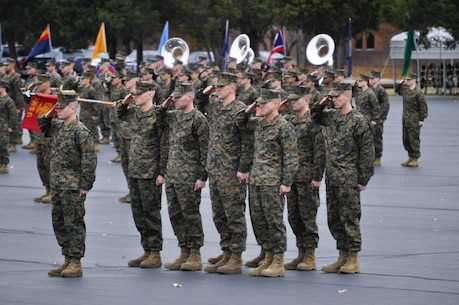 Staff Sgt. James J. W. Geiger, front left, salutes in formation during Officer Candidate Course in Quantico, Virginia, Nov. 25. Geiger was the honor graduate from Officer Candidate Class 217. (Courtesy Photo)