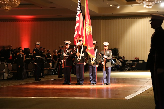 The Color Guard of Marine Corps Detachment Fort Leonard Wood, Missouri conducts the 239th Marine Corps Birthday Ball Ceremony.