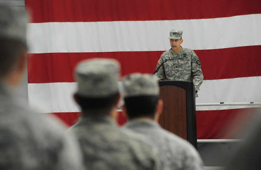 Maj. Gen. Daniel R. Hokanson, The Adjutant General, Oregon, address those in attendance at the Demobilization Ceremony for the 142nd Fighter Wing Civil Engineer Squadron and Security Forces Squadron at the Portland Air National Guard Base, Ore., Dec. 7, 2014. (U.S. Air National Guard photo by Tech. Sgt. John Hughel, 142nd Fighter Wing Public Affairs/Released)