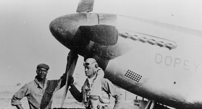 1st Lt. Walter Westmoreland with his P-51C nicknamed Dopey. A member of the 302nd Fighter Squadron, he was shot down by enemy ground fire near Lake Balaton, Hungary, in October 1944 while returning from an escort mission to Blechhammer, Germany. (U.S. Air Force photo)
