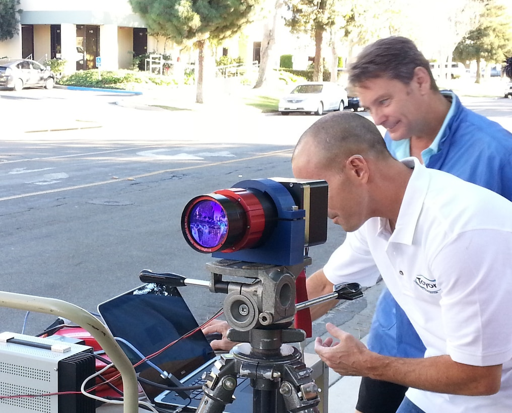 Jason Hannon, (Toyon Research Corp.), and Greg Wagner (FLIR-EOC Inc.) test a high-definition, short-wave infrared camera. The Air Force Research Laboratory, headquartered at Wright-Patterson Air Force Base, is managing the project to ultimately provide the warfighter with enhanced airborne surveillance. (Courtesy photo)