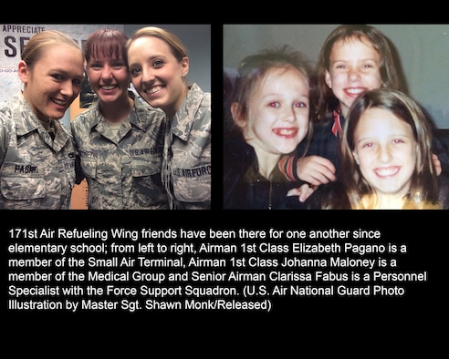 171st Air Refueling Wing friends have been there for one another since elementary school; from left to right, Airman 1st Class Elizabeth Pagano is a member of the Small Air Terminal, Airman 1st Class Johanna Maloney is a member of the Medical Group and Senior Airman Clarissa Fabus is a Personnel Specialist with the Force Support Squadron. (U.S. Air National Guard Photo Illustration by Master Sgt. Shawn Monk/Released)