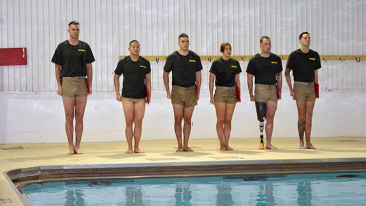 On Nov. 25, Staff Sgt. Adam Jacks became the first amputee to graduate from the Marine Combat Instructor of Water Survival course. Over the three-week course the students swim 59 miles, complete timed drills and swims, and learn rescue techniques. They are now certified as MCIWS instructors and Red Cross lifeguards.