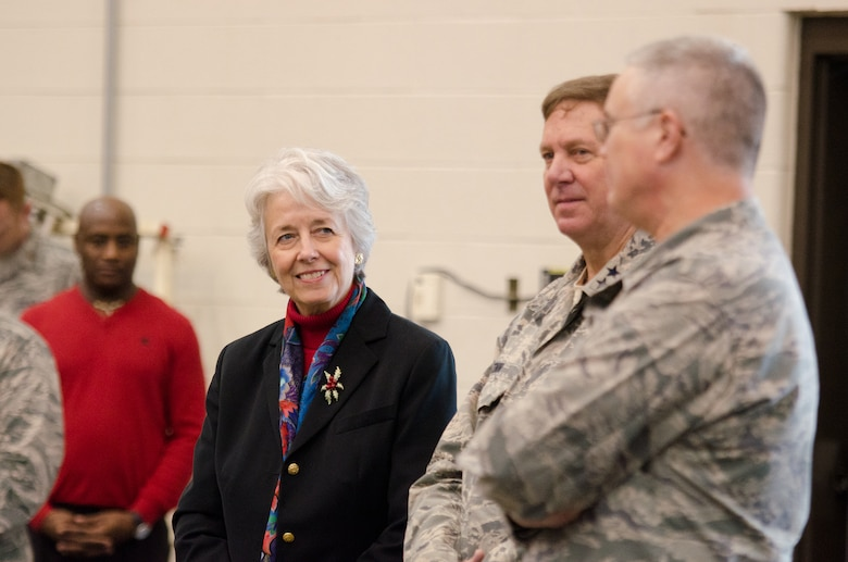 Lt. Gov. Crit Luallen welcomes home members of the 123rd Contingency Response Group at the Kentucky Air National Guard Base in Louisville, Ky., Dec. 6, 2014. The Airmen spent seven weeks in Senegal operating an air cargo hub that delivered more than 750 tons of humanitarian aid and equipment to West Africa in support of Operation United Assistance, the international effort to fight an Ebola outbreak there. (U.S. Air National Guard photo by Senior Airman Joshua Horton)