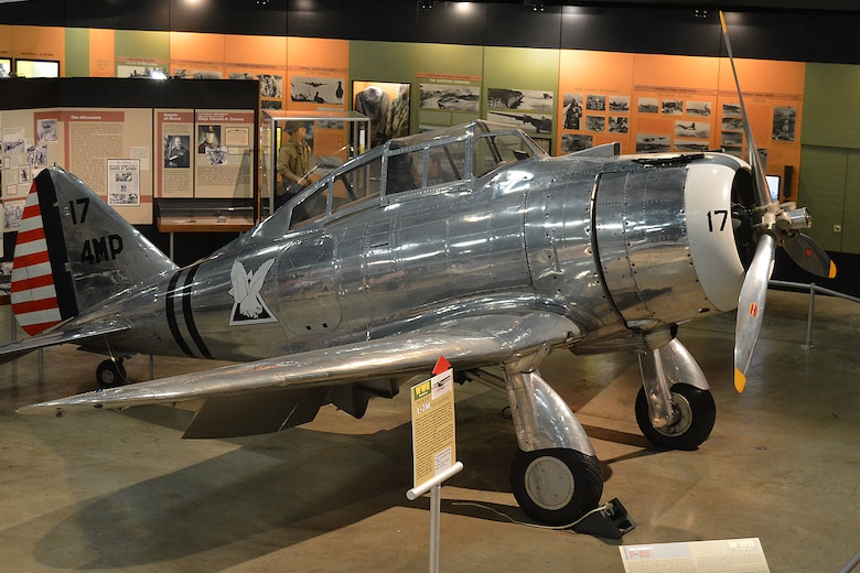 DAYTON, Ohio -- Seversky P-35A in the World War II Gallery at the National Museum of the United States Air Force. (U.S. Air Force photo)