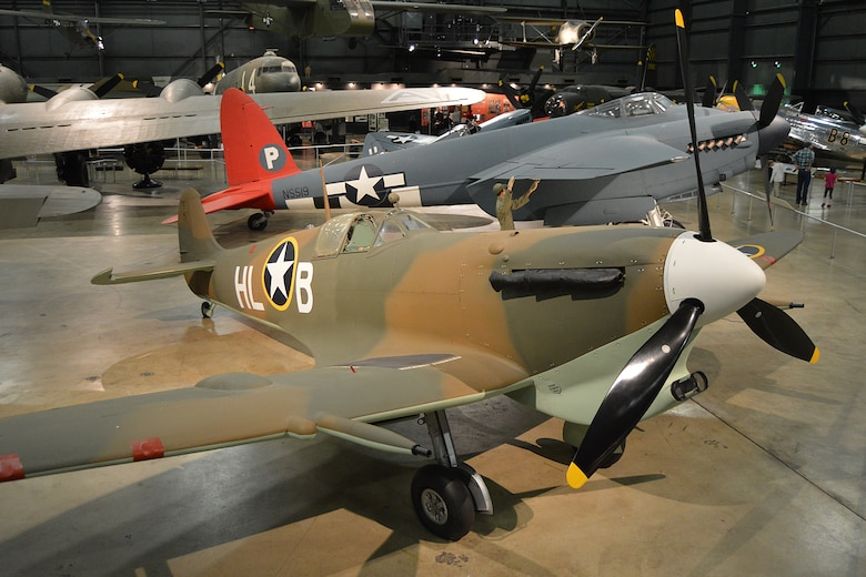 DAYTON, Ohio -- Supermarine Spitfire Mk.Vc in the World War II Gallery at the National Museum of the United States Air Force. (U.S. Air Force photo)